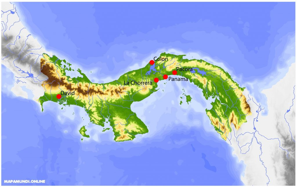 mapa fisico panama color relieve