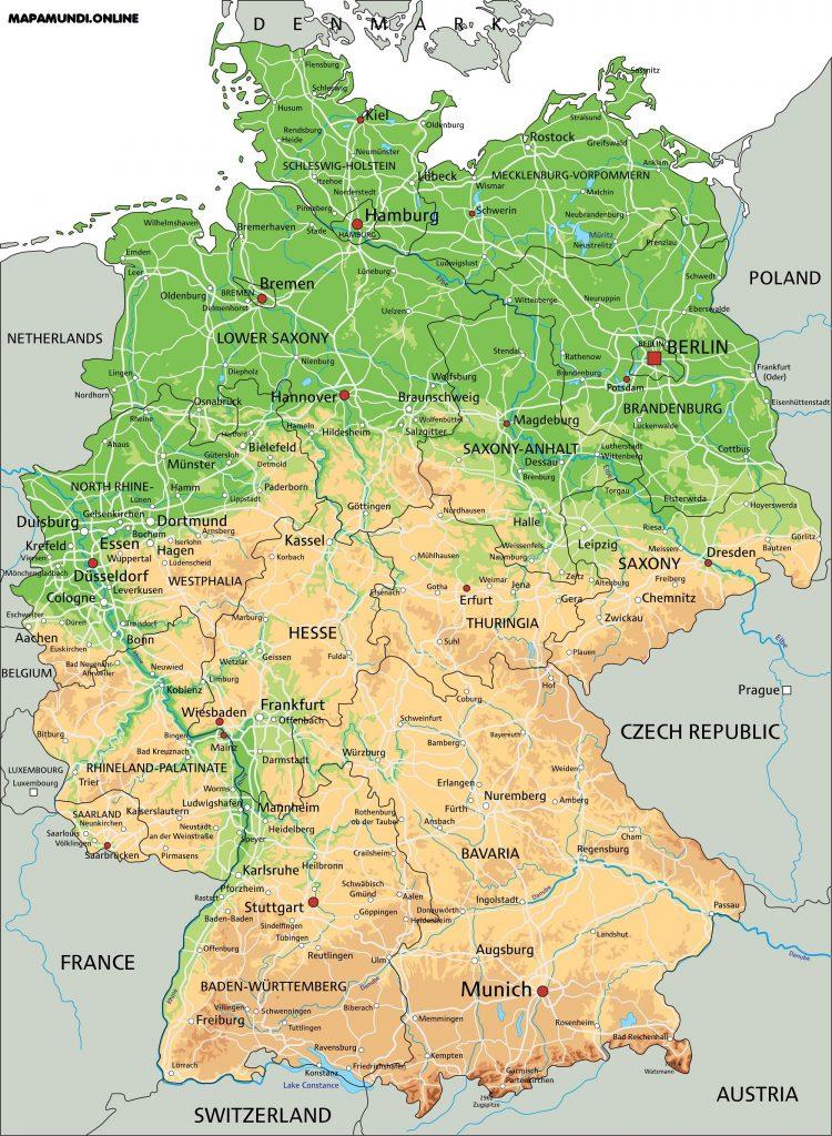 mapa fisico politico alemania nombres grande hd