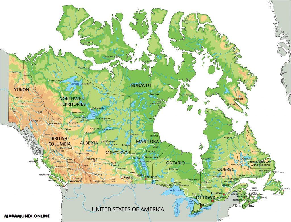 mapa canada fisico politico