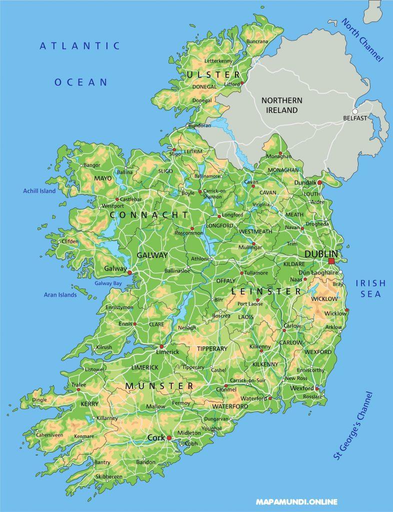 mapa fisico irlanda pais