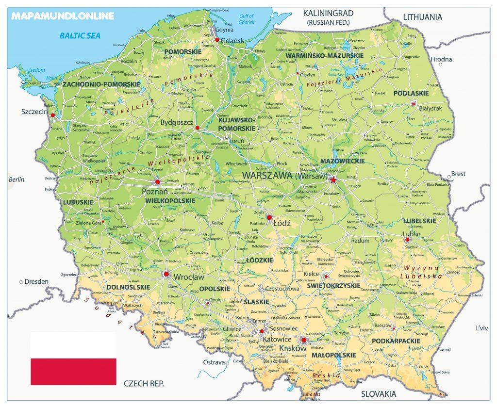 mapa fisico polonia