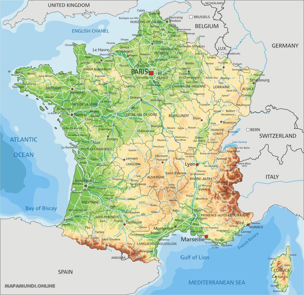 mapa francia fisico politico nombres