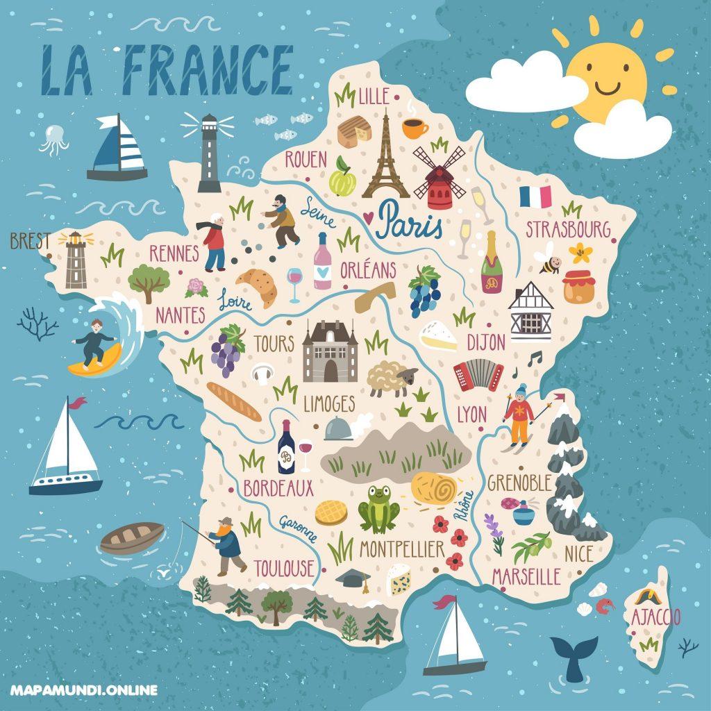 mapa francia para niños