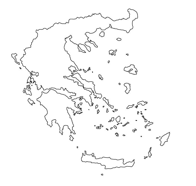 mapa grecia para colorear mudo blanco