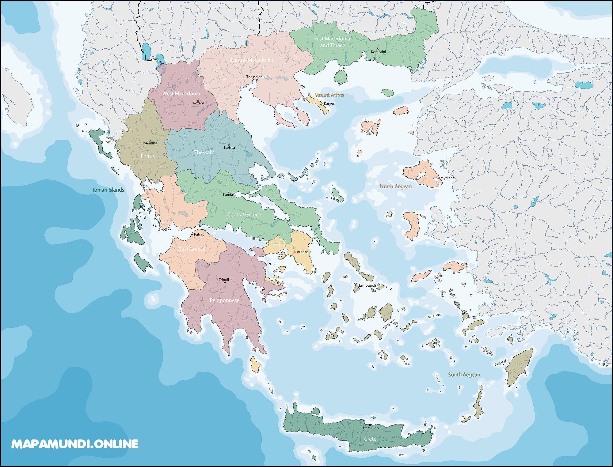 Mapa Politico De Grecia.Mapa De Grecia Politico Fisico Para Imprimir