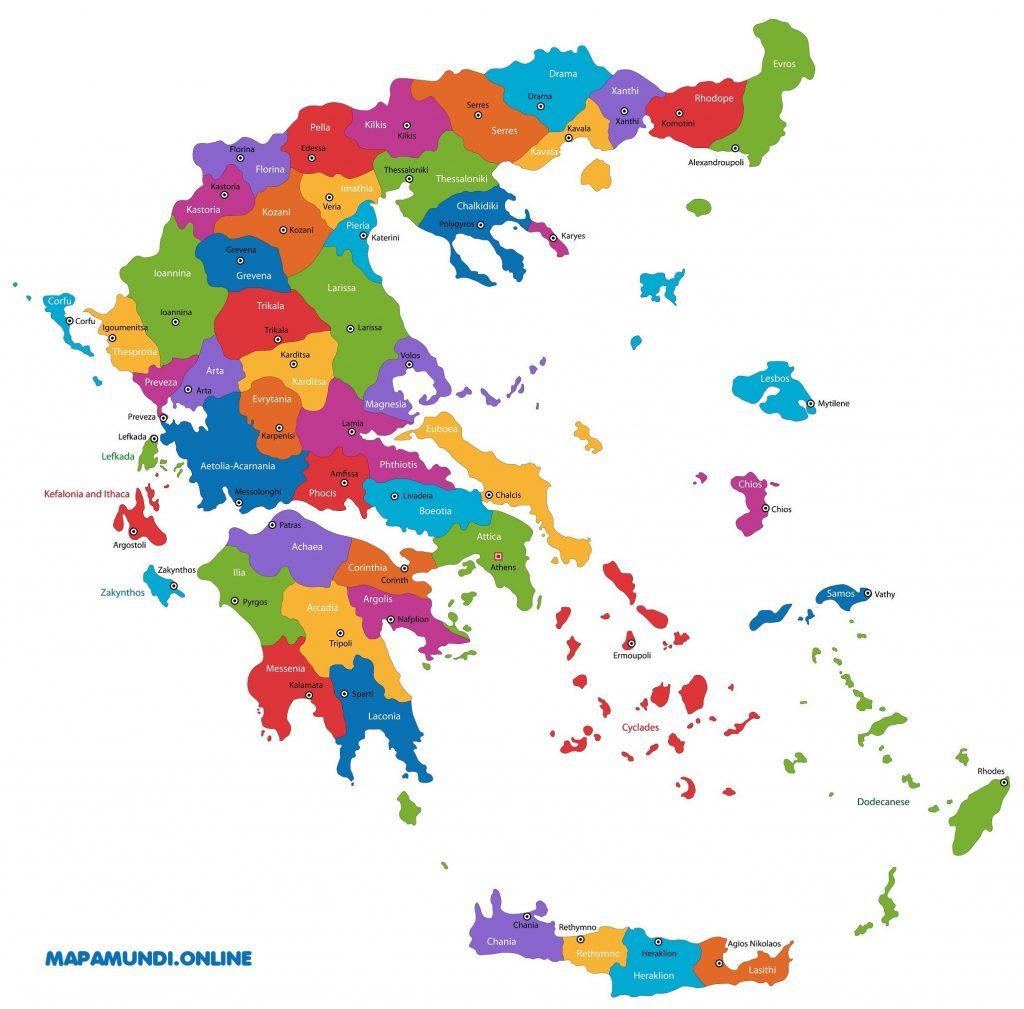 mapa grecia regiones