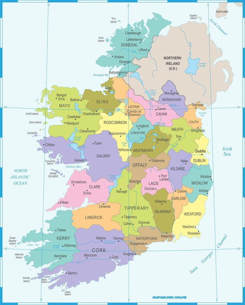 mapa irlanda con limites y nombres