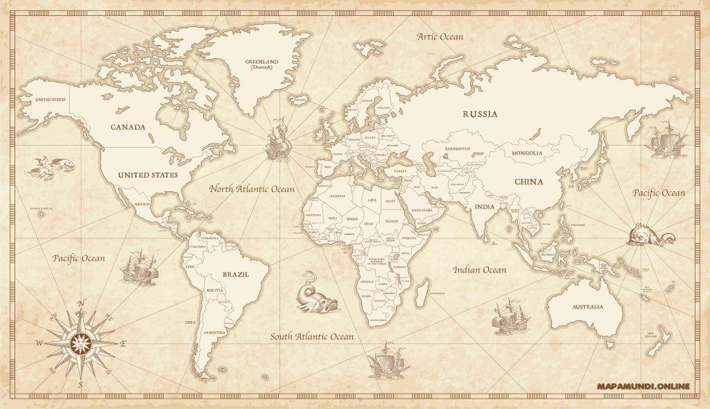 mapa mundi vintage antiguo naval marinero