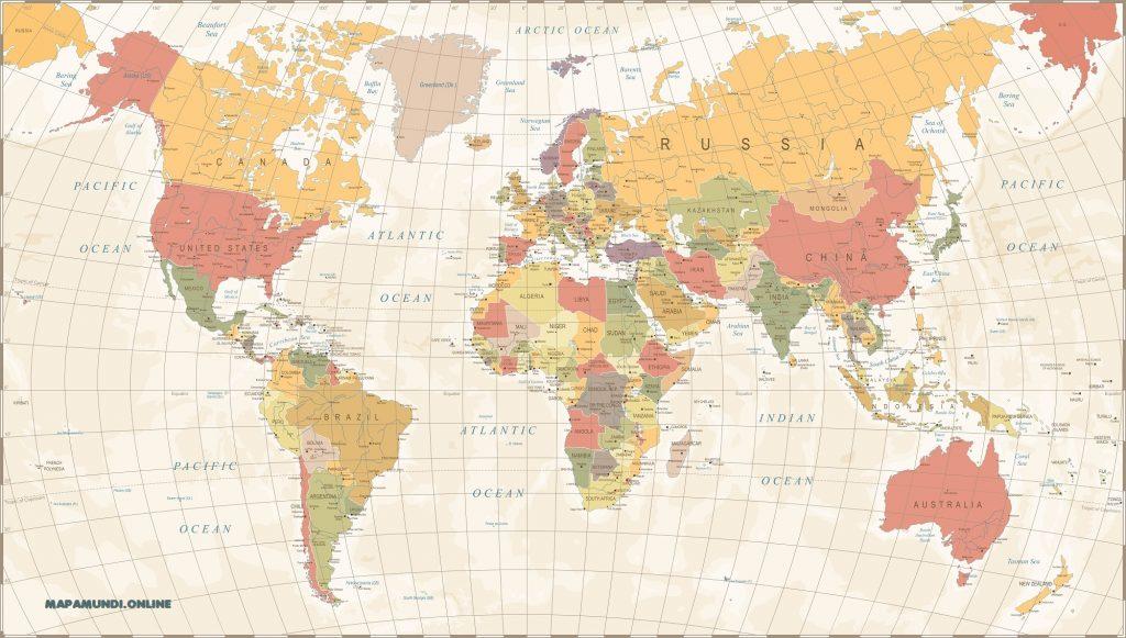 mapa mundi vintage politico