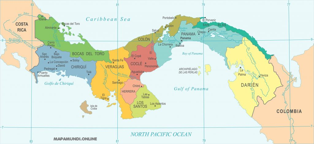 mapa panama departamentos provincias
