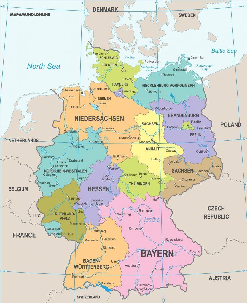 mapa alemania politico ciudades regiones