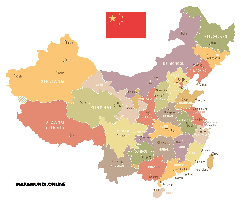 Mapa De China Politico Fisico Imprimir