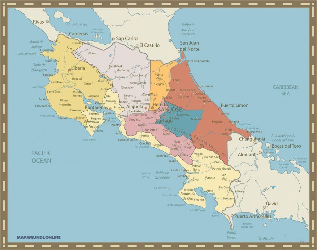 mapa costa rica politico nombres