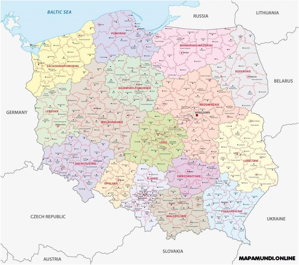 mapa polonia con nombres y division politica por ciudades