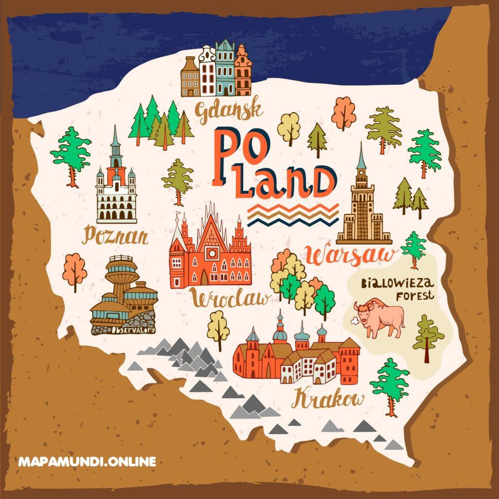 mapa polonia dibujo para niños