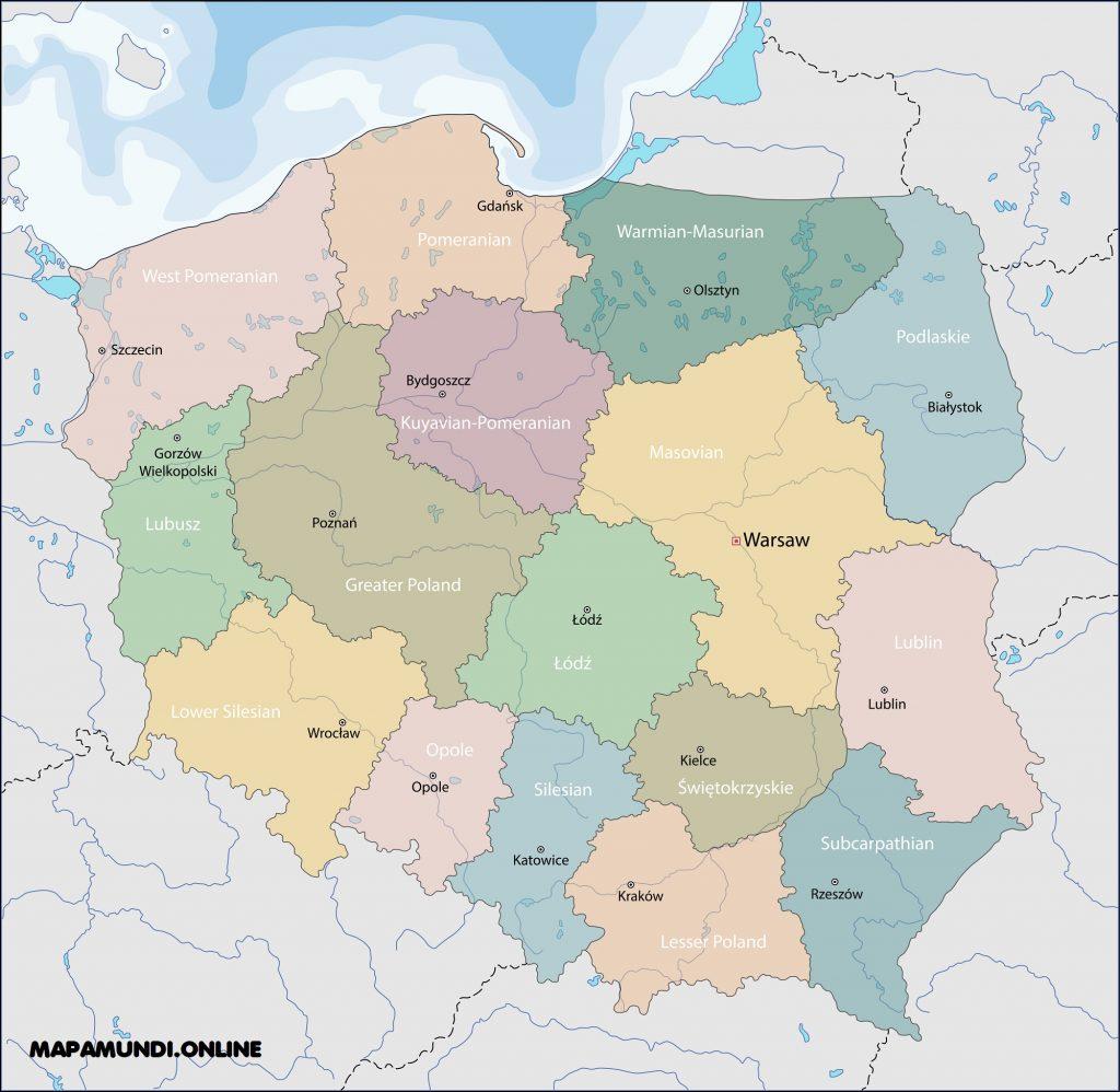 mapa polonia politico nombres