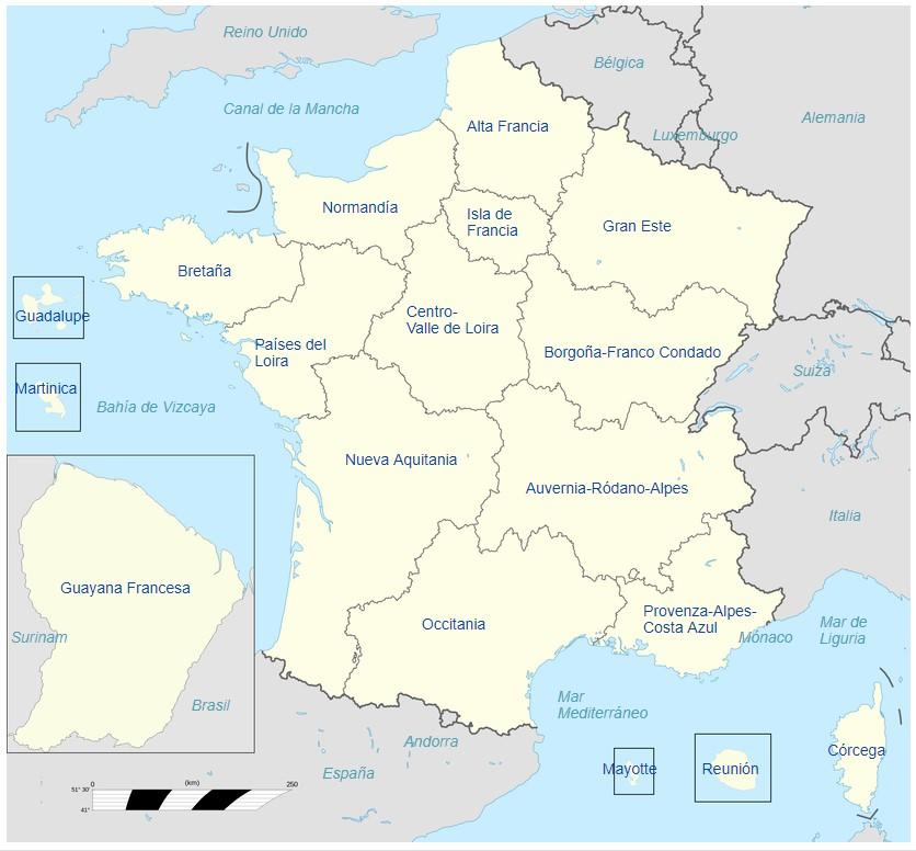 mapa regiones francia español