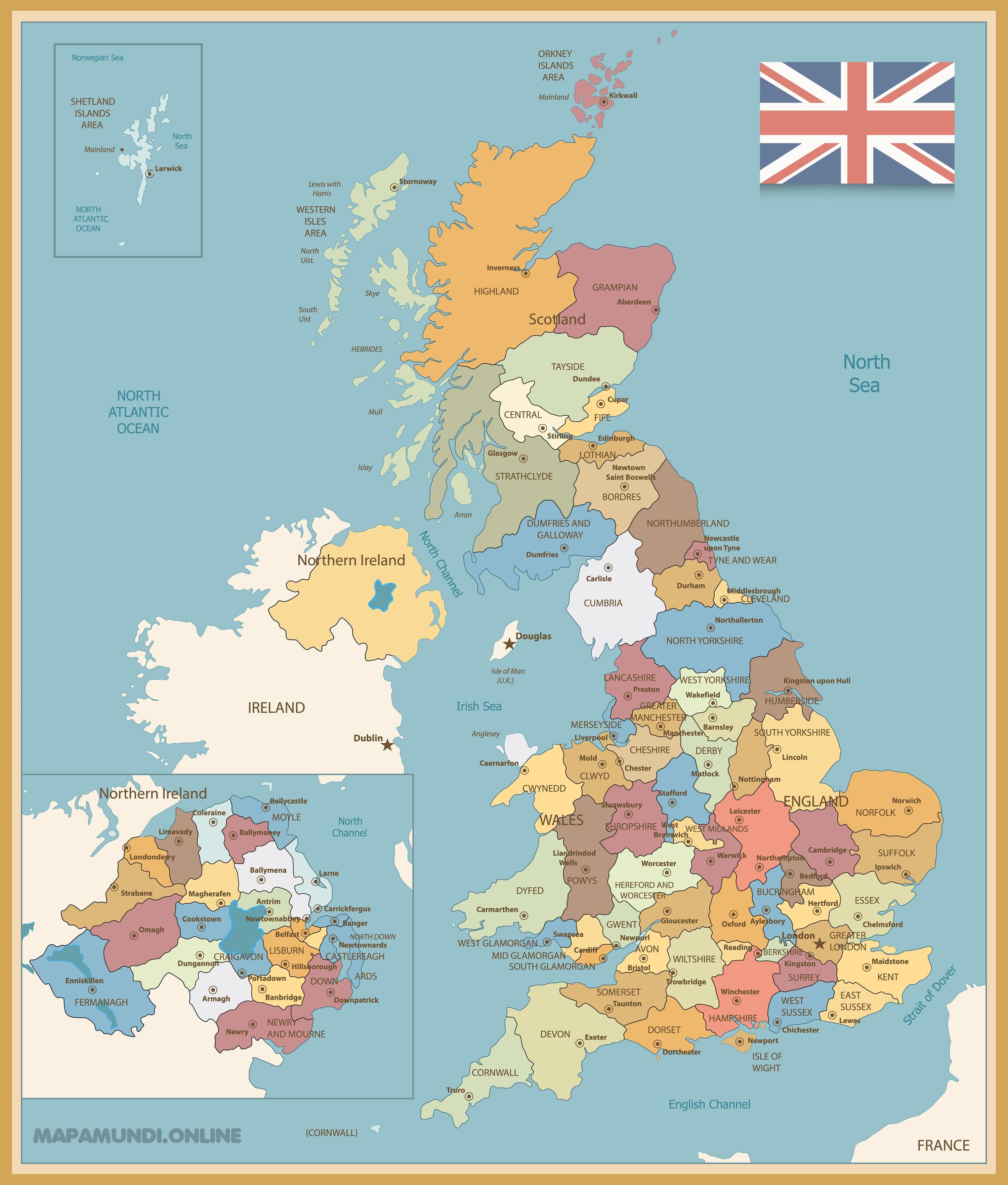 Mapa Del Reino Unido Político Físico Imprimir Colorear 2021