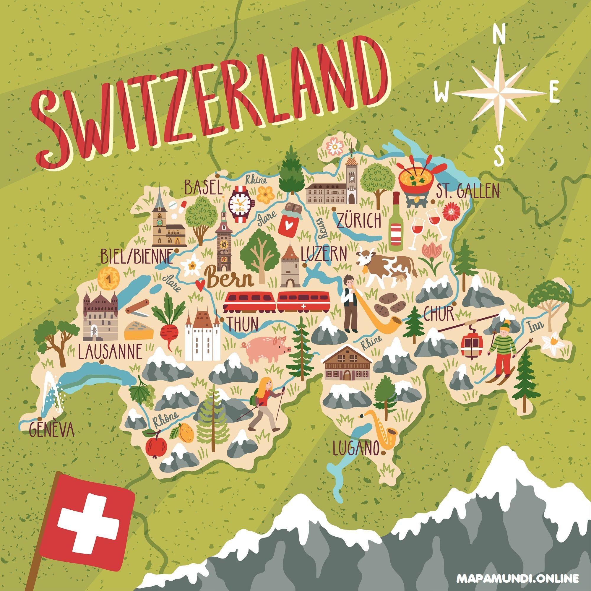 Mapa Politico De Suiza.Mapa De Suiza Politico Fisico Imprimir