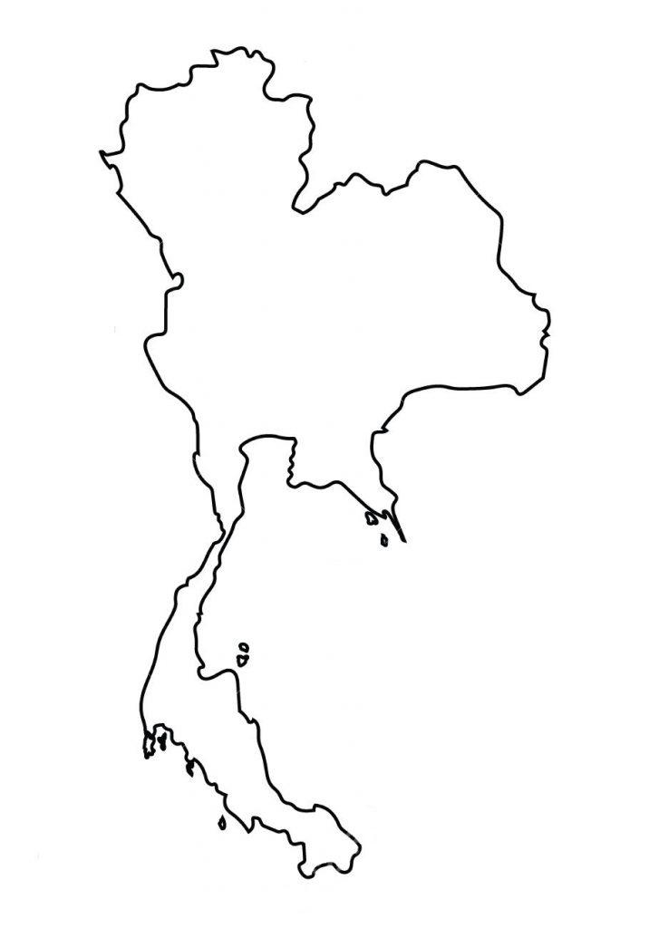 mapa tailandia imprimir colorear blanco