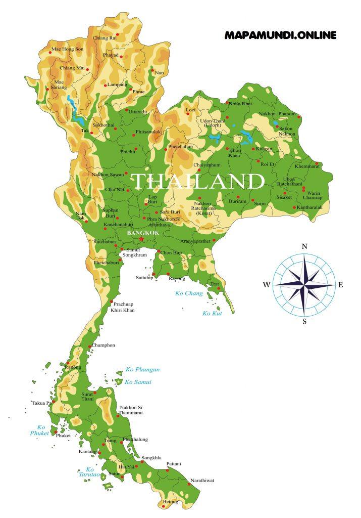 mapa fisico tailandia