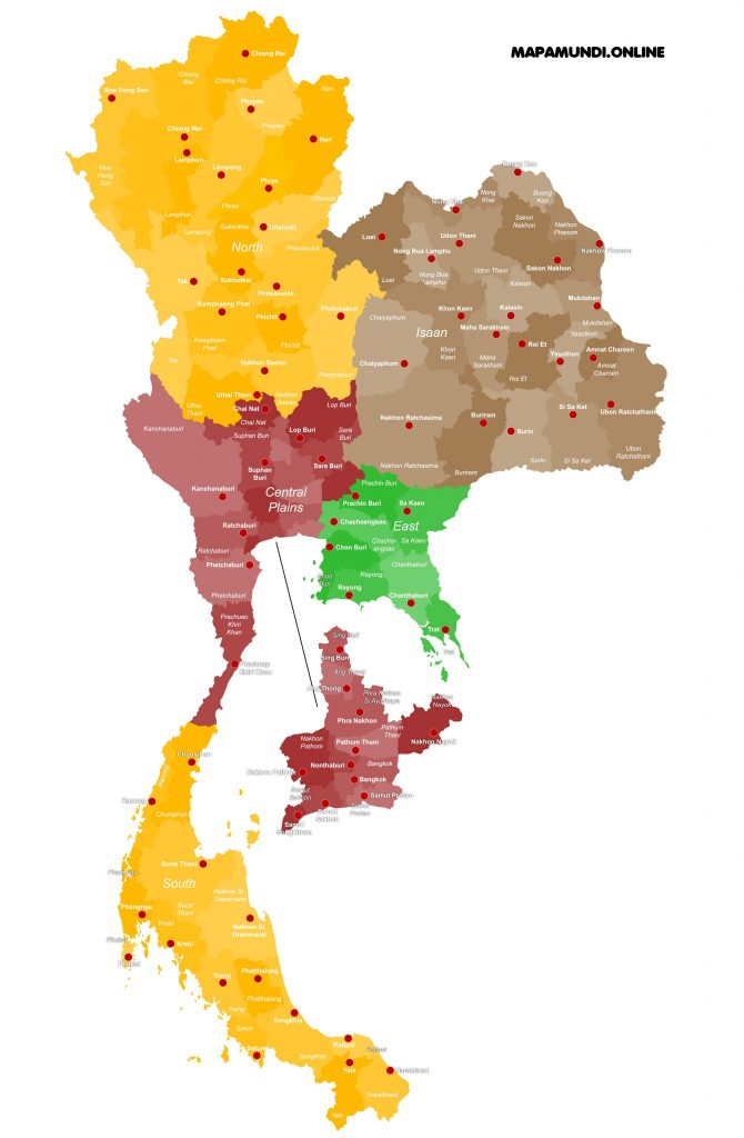 mapa tailandia ciudades islas