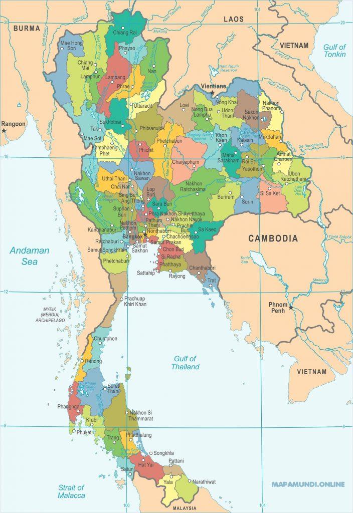 mapa tailandia politico division nombres