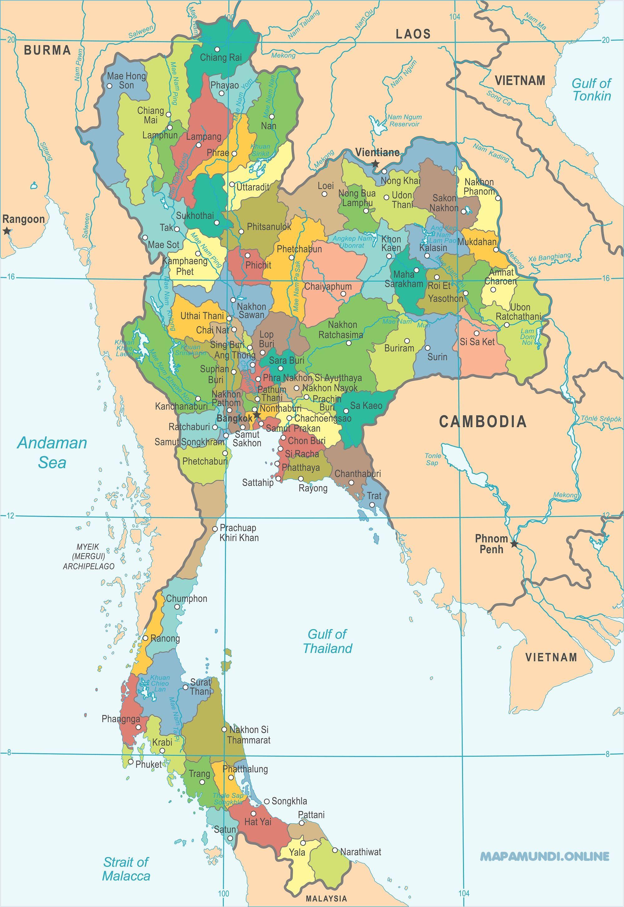 Mapa De Tailandia Politico Fisico Imprimir Colorear