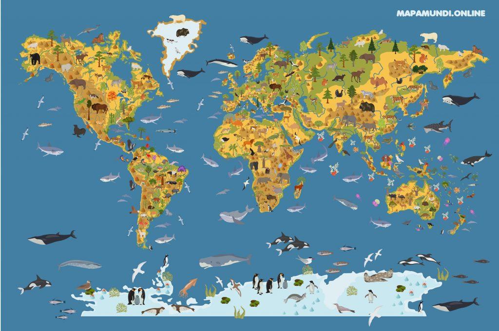 mapamundi para niños con animales para imprimir