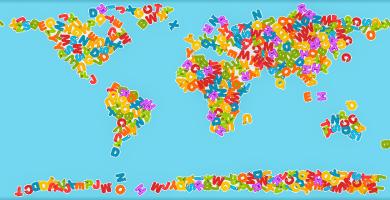 mapamundi para niños con letras colores
