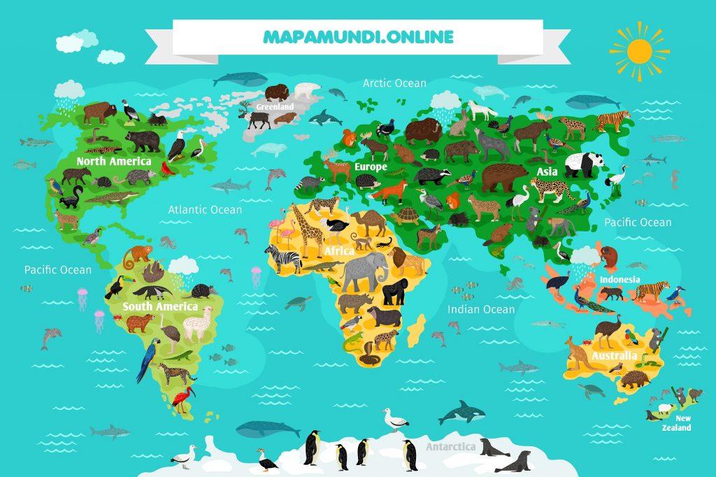 planisferio infantil animales continentes nombres