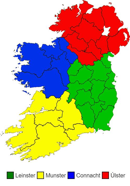 mapa provincias irlanda