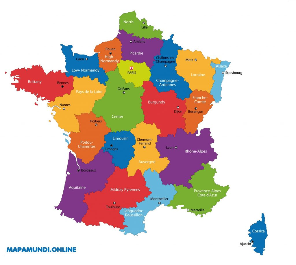 mapa regiones francia