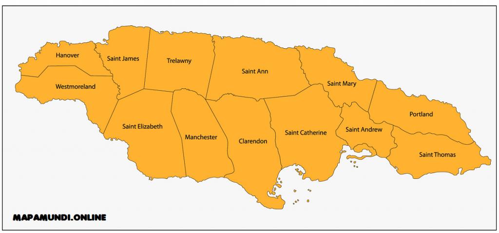 mapa regiones jamaica