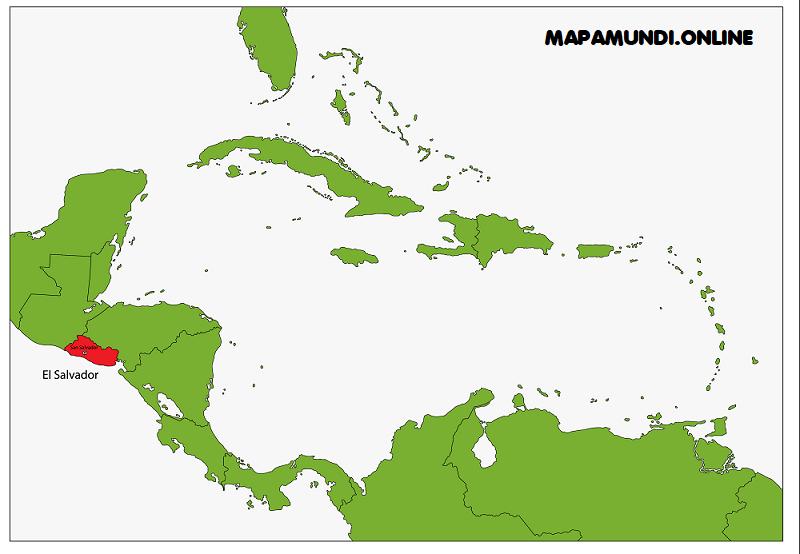 mapa el salvador continente americano centroamerica