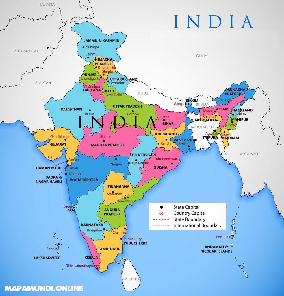 imagen mapa la india con nombres