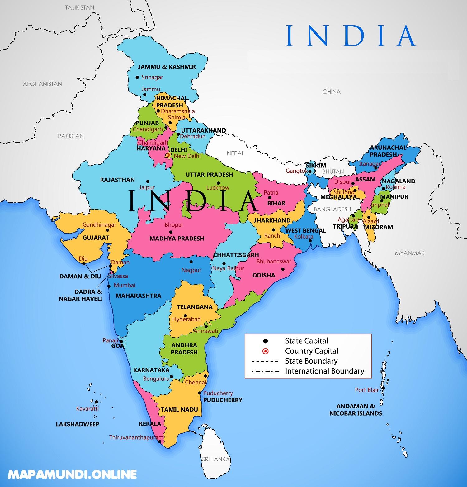 Mapa De La India Politico Fisico Grande Para Imprimir