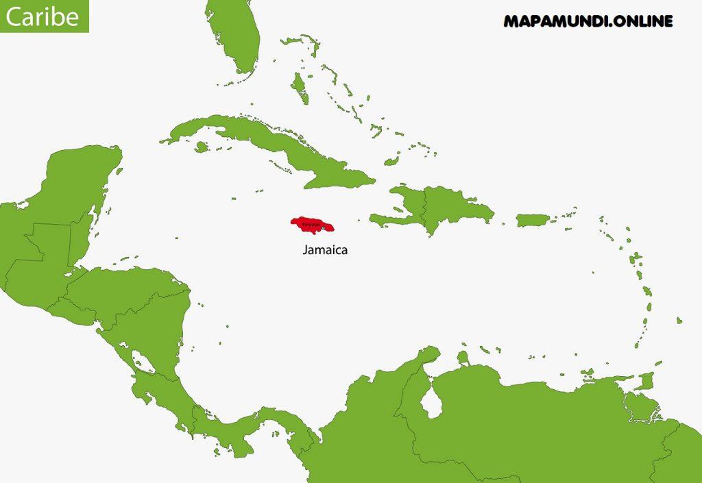 mapa jamaica mar caribe