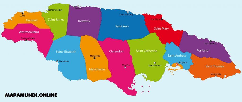 mapa jamaica politico