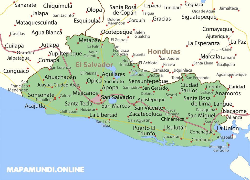 mapa el salvador con nombres de ciudades