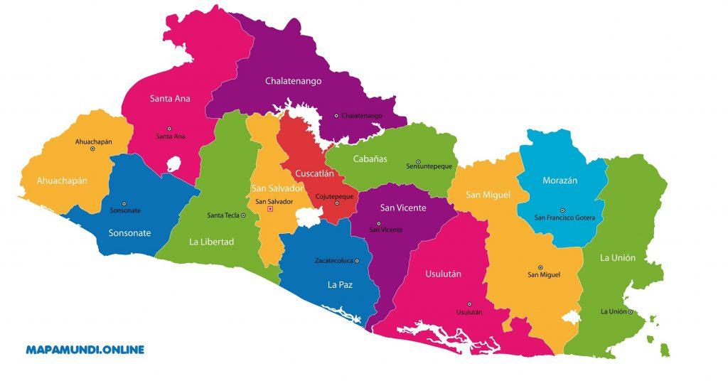 mapa politico el salvador departamentos capitales