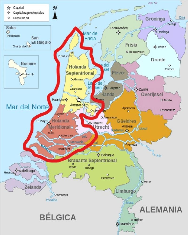 mapa holanda paises bajos