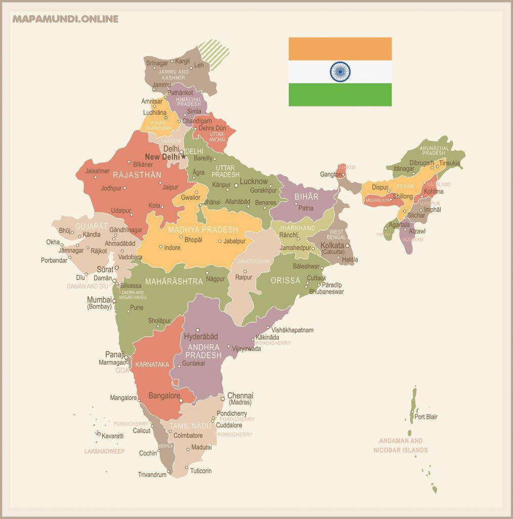 mapa de la india estados ciudades