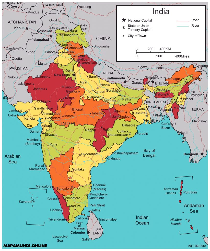 mapa india politico con ciudades