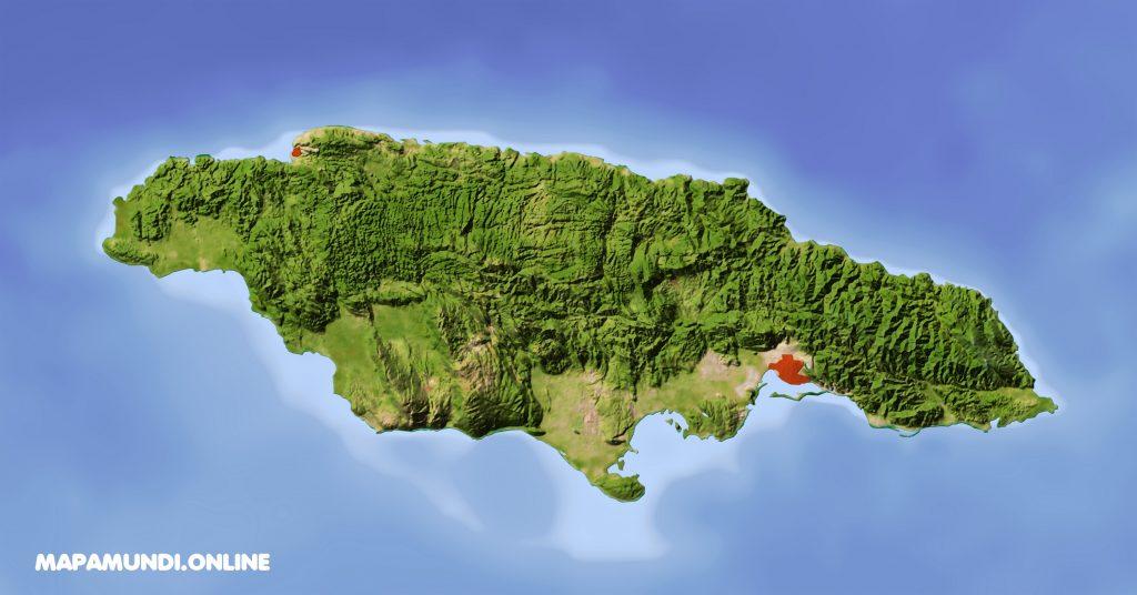 mapa fisico jamaica