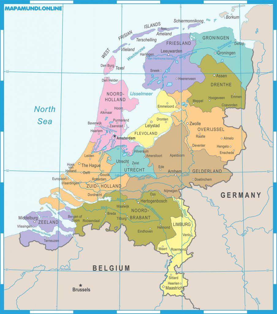 mapa paises bajos politico con nombres