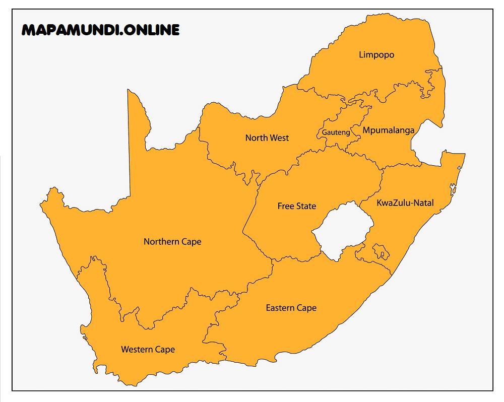 mapa de sudafrica y sus provincias