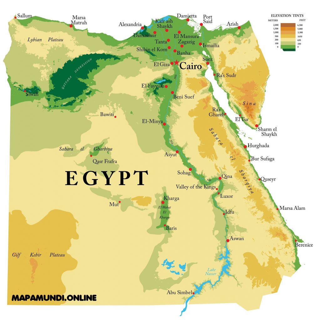 mapa fisico politico egipto