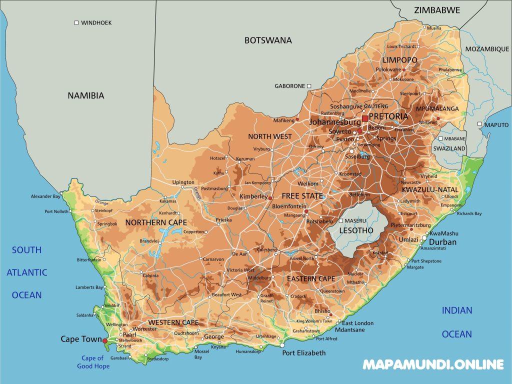 mapa fisico politico sudafrica con nombres