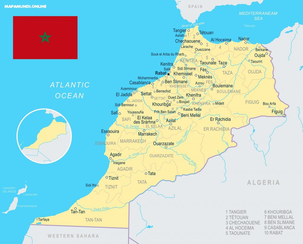 mapa marruecos politico para imprimir